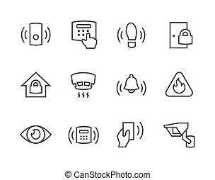 perímetro, seguridad, contorno, iconos