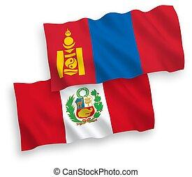 perú, banderas, fondo blanco, mongolia