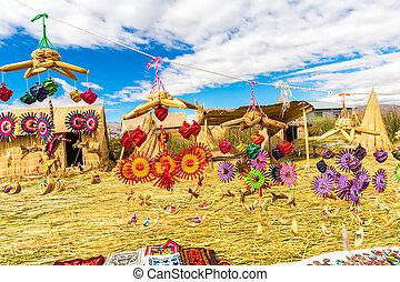 perú, lago, recuerdo, titicaca, america., caña, islas,...