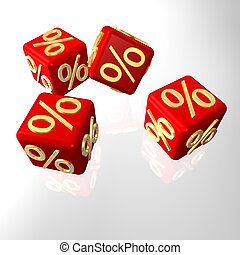 Per Cent Cube - Red cubes with golden per cent symbols.