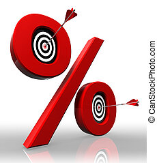 per cent red symbol with conceptual targets