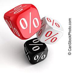 per cent symbol on dice cubes red white black