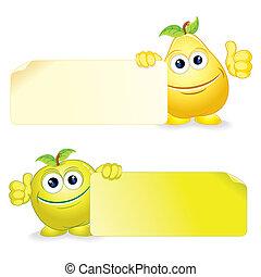 pera, con, manzana