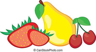 pera, fragola, e, ciliegia