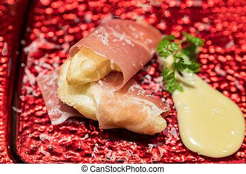 pera, jamón, parma, tempura