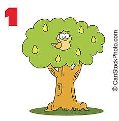 pera, pernice, albero