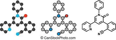 Perampanel epilepsy drug molecule. Used in treatment of...