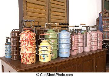 peranakan, weinlese, speise behälter