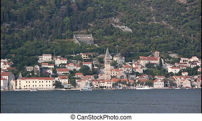 Perast, wide, view from sea. Montenegro