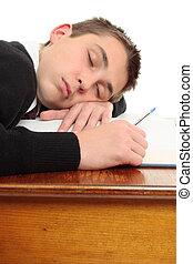 percé, fatigué, étudiant, bureau
