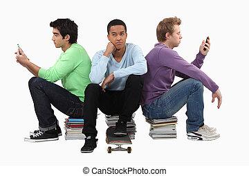 percé, groupe, jeunes hommes