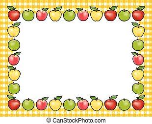 percalle, bordo, mela, oro, cornice