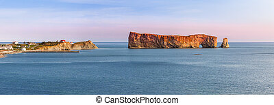 Perce Rock panorama at sunset