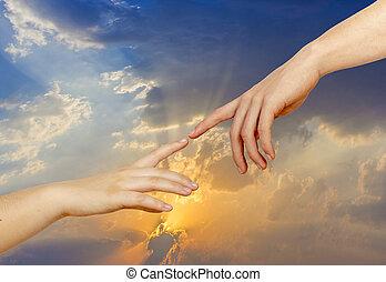 perceel, licht, creatie, twee, achtergrond, adam, handen, michelangelo's, reproductie