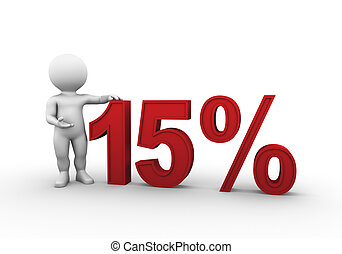 Bobby is presenting a discount percentage in red