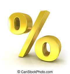 Percent 3d golden sign isolated