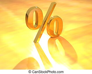 Percent % - 3D Percent text % on gold background