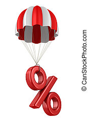 percent and parachute on white background. Isolated 3D...
