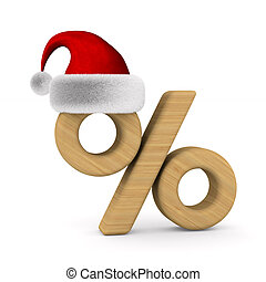 Percent and santa claus hat on white background. Isolated 3D...