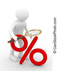 percent., bild, discounts., freigestellt, vergrößern, 3d