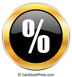 Percent black web icon with golden border isolated on white background. Round glossy button.