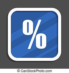 Percent blue flat design square web icon
