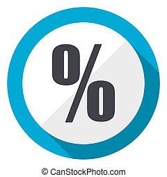 Percent blue flat design web icon