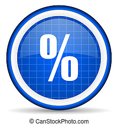 percent blue glossy icon on white background