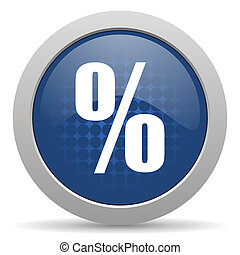 percent blue glossy web icon
