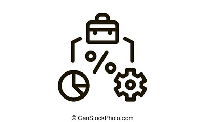 percent business case infographic and gear Icon Animation. black percent business case infographic and gear animated icon on white background