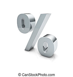 Percent - Rendering of a silver percent sign on a reflective...
