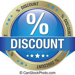 percent discount blue gold button