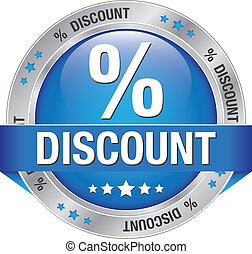 percent discount silver blue button