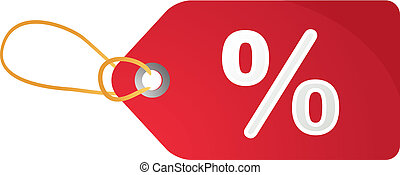 Sales tag label illustration with percent discount symbol