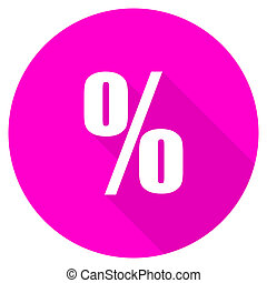 percent flat pink icon