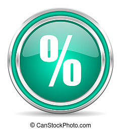 percent green glossy web icon