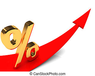 percent grow - 3d illustration of growing arrow and golden...