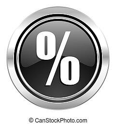 percent icon, black chrome button