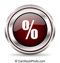 percent icon chrome border round web button silver metallic pushbutton