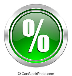 percent icon, green button
