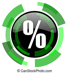 percent icon, green modern design isolated button, web and mobile app design illustration