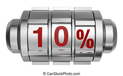 percent icon - one combination lock with the number 10 and...