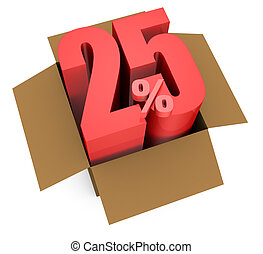 one open carton box with the 25 percent rate number that comes out (3d render)
