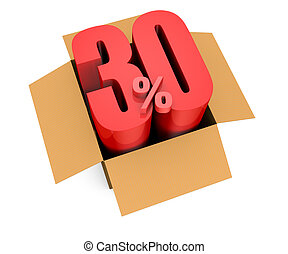 percent icon - one open carton box with the 30 percent rate...