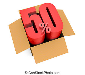 percent icon - one open carton box with the 50 percent rate...