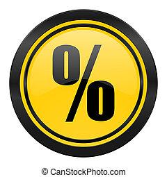percent icon, yellow logo
