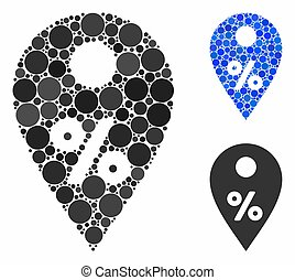 Percent map marker Composition Icon of Circle Dots