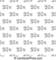 percent., muster, seamless, fünfzig, gezeichnet, hand