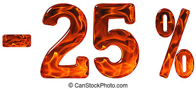 Percent off. Discount. Minus 25, twenty five  percent, numerals isolated on white background