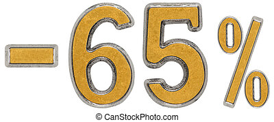 Percent off. Discount. Minus 65, sixty five, percent. Metal numeral, isolated on white background